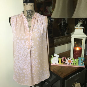 Ann Taylor Tan with Pink Sleeveless Blouse